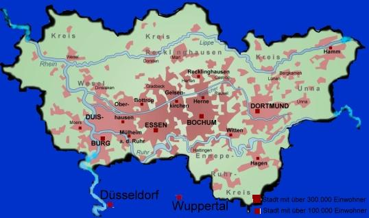 Karte Ruhrgebiet.Daas Ruhrgebiet